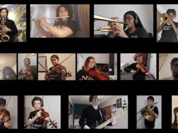 image of virtual performance with young people in separate squares on a digital grid playing musical instruments